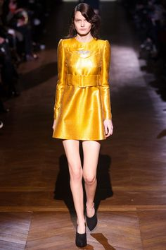 Beautiful highly saturated, raw silk textured yellow minidress with sculpted shoulders and high waisted wide belt for a vibrant vintage evening in for today's parties.  Carven Fall 2014 Ready-to-Wear Collection Slideshow on Style.com