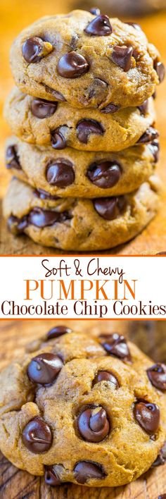 Soft and Chewy Pumpkin Chocolate Chip Cookies - No cakey cookies here!! Soft, chewy, thick, loaded with chocolate and bold pumpkin flavor! Your new favorite pumpkin cookies!!