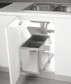 Pull Out Waste Bin Stainless Base Mounted Maximum Utilization Of E Inside The Sink Cabinets