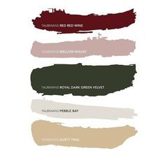 Taubmans Jungle fever colour palette 🎨 - Our previous post had the wrong colour names - apologies for any inconvenience caused! Color Schemes Colour Palettes, Red Colour Palette, Green Palette, Color Trends, Living Room Red, Living Room Color Schemes, Green Colors, Pink And Green, Deep Red Color