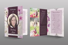 This Orchid Funeral Program Template is customized for any funeral program that needs a creative modern, vintage look for the deceased or marketing package. Funeral Order Of Service, Memorial Cards, Church Events, Program Template, Design Model, Programming, Orchids, Branding Design, Presentation