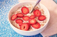 Strawberry Shortcake Oatmeal -   1/2 cup rolled oats cooked with 1.5 cups of water  2-3 tsp ground flax seeds  1/8-1/4 tsp ground cinnamon  1/2 cup 1% organic milk  Sliced strawberries  Stevia or Truvia to taste