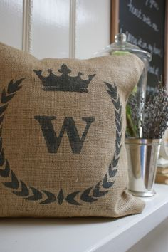 burlap pillow cover found on Etsy @myadobecottage.