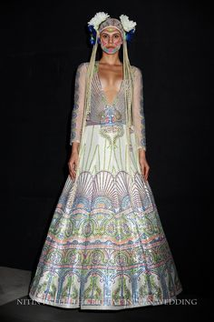 kitschy Indian lengha with dot style and headpiece   Manish Arora India Couture Week 2014