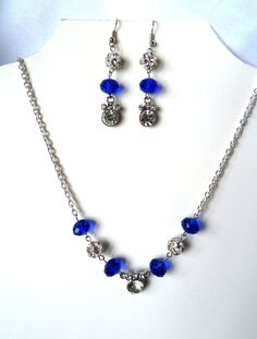 Blue and rhinestone necklace and earrings. $27.00, via Etsy.