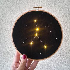Made to Order Cancer Zodiac Constellation Embroidery Hoop Art with LEDs light Outer Space Astrology Wall Hanging Personalized Gift Embroidery Works, Hand Embroidery Stitches, Advanced Embroidery, Hungarian Embroidery, Wooden Embroidery Hoops, Embroidery Hoop Art, Embroidery Jewelry, Zodiac Constellations, Embroidery For Beginners