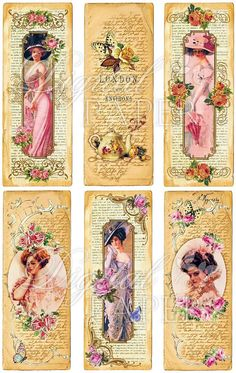 Flower Lady  Vintage Image  set of 6 bookmarks  by bydigitalpaper, $4.35