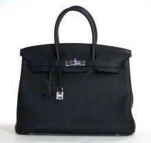 Authentic Hermès 35 Cm Black Togo Birkin Phw
