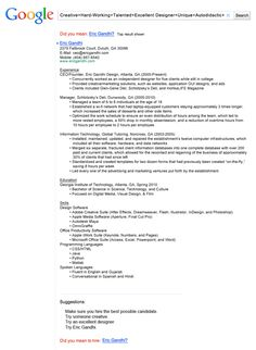 Creative Google Resume