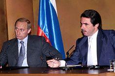 El presidente de Rusia, Vladimir Putin junto a Aznar en el Palacio de la Moncloa. Junio de 2000.