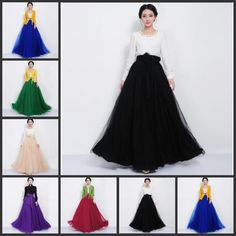Womens Layers Long Tulle Skirt Princess Celebrity TuTu Skirts Party Prom Dress #Unbranded #Maxi