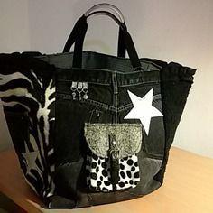 867678ee53e Gran mezclilla de imitación de piel de mezclilla negra y bolso dálmata   bolso  dálmata