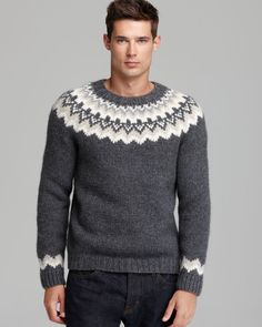Vince Gray Nordic Handknit Crewneck Sweater for men Sweater Cardigan, Men Sweater, Sweaters For Women, Crewneck Sweater, Nordic Sweater, Icelandic Sweaters, Knitting Designs, Jumpers, Hand Knitting