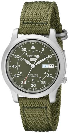 Seiko Men's SNK805 Seiko 5 Automatic Stainless Steel Watch with Green Canvas Strap ***