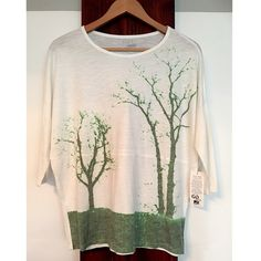 GO Couture Vintage Edition Light Beige Crewneck NWT Beautiful GO Couture Vintage Edition Light Beige Crewneck Sweater with green tree print on front. Batwing/Dolman type sleeves. This top is really gorgeous in person. Clean lines and very modern. Lightweight and very soft. Perfect for any occasion. Size Medium. GO Couture Tops Tees - Long Sleeve