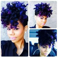 2019 curly pixie shortcuts, they come in every imaginable shape. Purple Natural Hair, Natural Hair Tips, Purple Hair, Natural Hair Styles, Natural Curls, Dark Purple, Love Hair, Big Hair, Natural Hair Inspiration