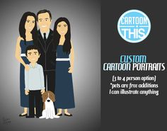3 to 4 Person Cartoon Portrait 8x10 Print by CartoonThis on Etsy