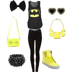 """""""Batman to the rescue ."""" by diamondthoo on Polyvore One of my friends can really make a superhero outfit"""