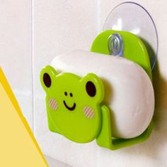1 Pcs Carton Print Dish Cloth Sponge Holder With Suction Cup Mini Bathroom Shelves Soap Holder