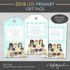 LDS 2018 Primary Gift Tags I Am a Child of God Theme