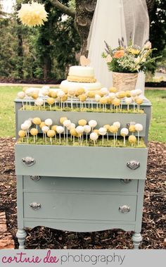 Garden party wedding theme. Cake pops mAde to look like flowers growing. Michael and Melissa | Balboa Park, San Diego Wedding