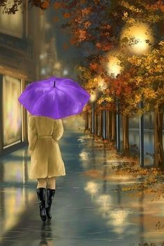 ''Walking'' (detail): Digital painting by Veronica Minozzi Rain Painting, Autumn Rain, Rain Art, Umbrella Art, Walking In The Rain, Anime Art Girl, Beautiful Paintings, Oeuvre D'art, Rainy Days