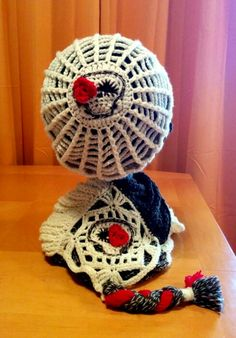 100% wool infinity scarf and slouchy beanie hat. Crochet, sewing,  & loom knitting. Dia de los Muertos cold weather wear.