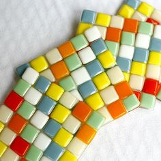 Fused Glass Coasters - Cabana - orange, blue, mint green, yellow, ivory and white