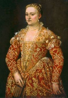 1545 Italian Courtesan Clothing, by Baroness Briana Etain MacKorkhill (Picture: Portrait of a Woman Holding Gloves - Paolo Caliari - c. 1550-60, Verona)