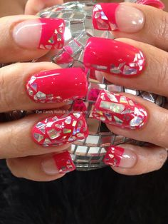 Found another great nail design, re pin and share for others ((TAB)) Hot pink polish with mirrorball chip nail art