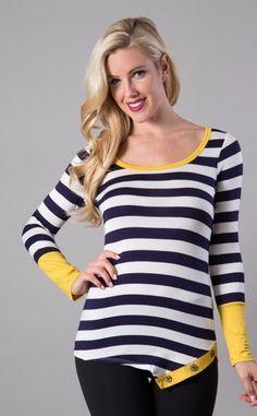 Navy/Mustard Stripe Side Button