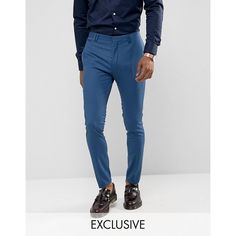 Noak Super Skinny Wedding Suit Pant in Blue (100 CAD) ❤ liked on Polyvore featuring men's fashion, men's clothing, men's pants, men's dress pants, blue, mens zip off pants, mens skinny dress pants, mens blue pants, mens skinny pants and tall mens dress pants