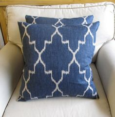 Ikat Indian Blue /TWO pillow covers 18x18 same fabric by yiayias, $60.00