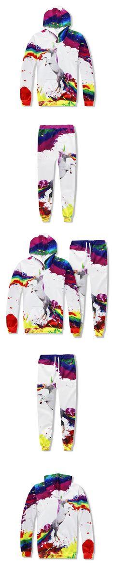 2017 New Fashion 3d Hooded Sets Print Horse Unicorn Spray Paint Hip Hop Funny 3D Sweatshirt +Sweatpants Tracksuit Set R2410