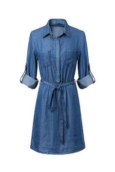 Belted Denim Dress from mobile - US$25.95 -YOINS