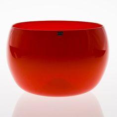 "KAJ FRANCK - Glass bowl ""Art Rosso"" for Nuutajärvi Notsjö 1970's, Finland. [h. 16 cm, Ø 25 cm]"