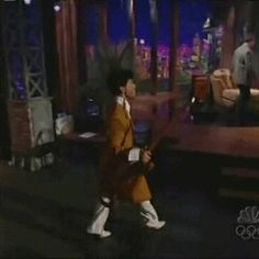 """Remembering His Royal Badness, PRINCE — This is why I love Prince, No one else would do this and look as cool. This is from an appearance on """"The Tonight Show with Jay Leno."""""""
