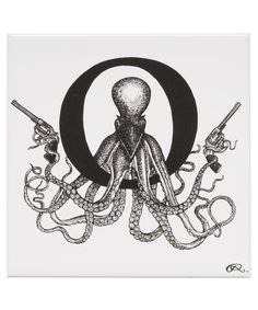 Outlaw Octopus Letter O Tile, Rory Dobner. Shop more home accessories from the Rory Dobner collection online at Liberty.co.uk