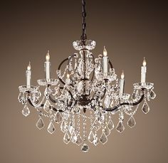 Med. 19th Century Rococo Iron & Crystal Chandelier by Restoration Hardware