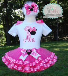 Minnie Mouse Tutu Set in Bubblegum Pinkincludes by lilabbehandmade, $85.99
