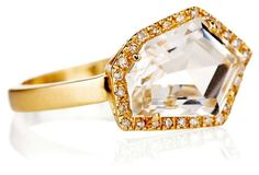14K White Topaz Petite Cubist Ring from One Kings Lane on shop.CatalogSpree.com, your personal digital mall.