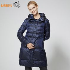 Cheap jacket down, Buy Quality jacket hood directly from China jacket jacket Suppliers: Barbeaupeak Women Down Jackets Hooded 80% White Duck Down Navy Blue Long Autumn Winter Warm Female Slim Casual Down Coat Jackets