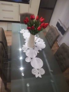 Table runner, Crochet table center piece will make your dining table special. Crochet Home Decor, Crochet Decoration, Decoration Piece, Table Centerpieces, Table Decorations, Shabby Chic Lamps, Crochet Table Runner, Table Centers, Crochet Mandala