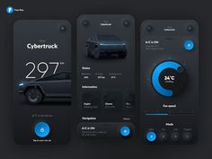 An awesome Tesla smart app concept with dark theme and a stylish UI. Many thanks to Gavrisov Dmitri for releasing this Figma app kit! Mobile App Design, Mobile Ui, Gui Interface, User Interface Design, Ui Ux Design, Dashboard Design, Web Dashboard, Flat Design, Graphic Design
