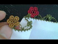 Fıstıklı tığ oyasından çiçek yapım videosu - YouTube Crochet Motif, Crochet Lace, Crochet Needles, Needle Lace, Hair Pins, Tatting, Needlework, Diy And Crafts, Projects To Try