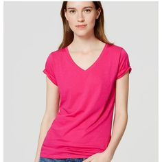 LOFT Petite Refined V-Neck Tee (25 CAD) ❤ liked on Polyvore featuring tops, t-shirts, magenta pop, v neck tee, short sleeve tee, wet look top, petite tees and pink t shirt