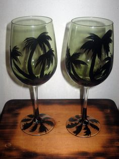 2 Hand painted wine glasses by somanysigns on Etsy, $22.00