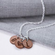 Clouds and Currents Personalised Couples Walnut Charm Necklace ($41) ❤ liked on Polyvore featuring jewelry, necklaces, rose necklace, heart charm necklace, heart charms, rose charm and charm necklace