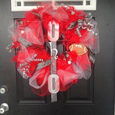 Ohio state buckeyes wreath