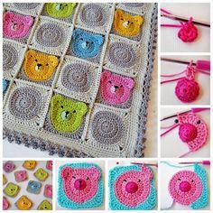 Crochet y dos agujas: Grannys al crochet con caras de ositos - paso a pa...